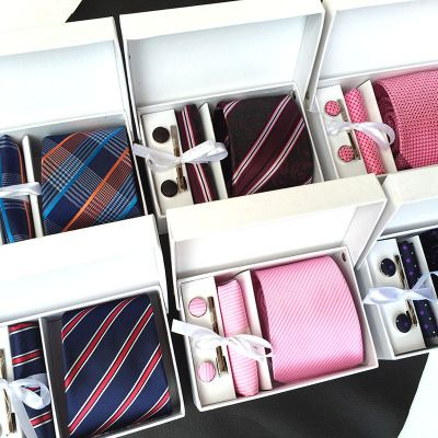 2017 mens fashion tie set polyester silk neckties dot stripe black ties for men tie handkerchief cufflinks gift box packing K01