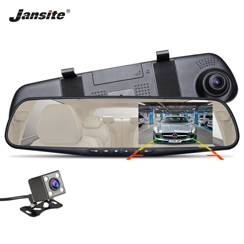 Jansite Car DVR Dual Lens HD 1080P display Car Camera Video Recorder Rearview Mirror With Rear view DVR Dashcam Auto Registrator
