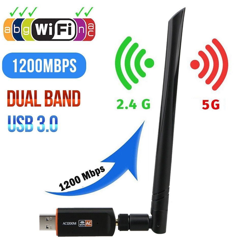 USB 3.0 1200Mbps Wifi Adapter Dual Band 5GHz 2.4Ghz 802.11AC RTL8812BU Wifi Antenna Dongle Network Card For Laptop Desktop