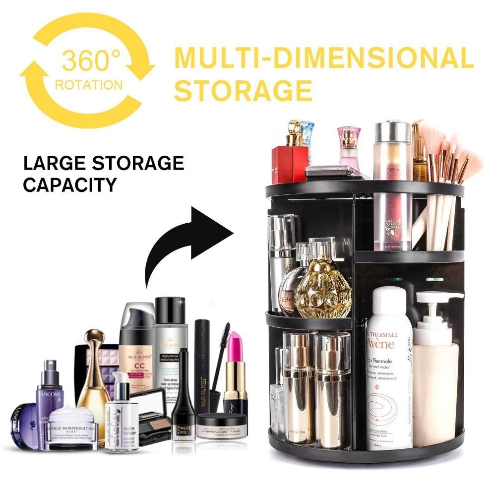 Grand Bureau 360 Degrés Maquillage Organisateur Rotating Réglable Multi-Fonction Cosmétique Boîte De Rangement Brosse Titulaire Bijoux Organisateur