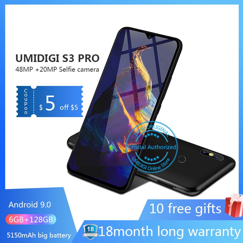 UMIDIGI S3 PRO Android 9.0 48MP + 12MP + 20MP 5150 mAh 128 GB 6 GB 6,3