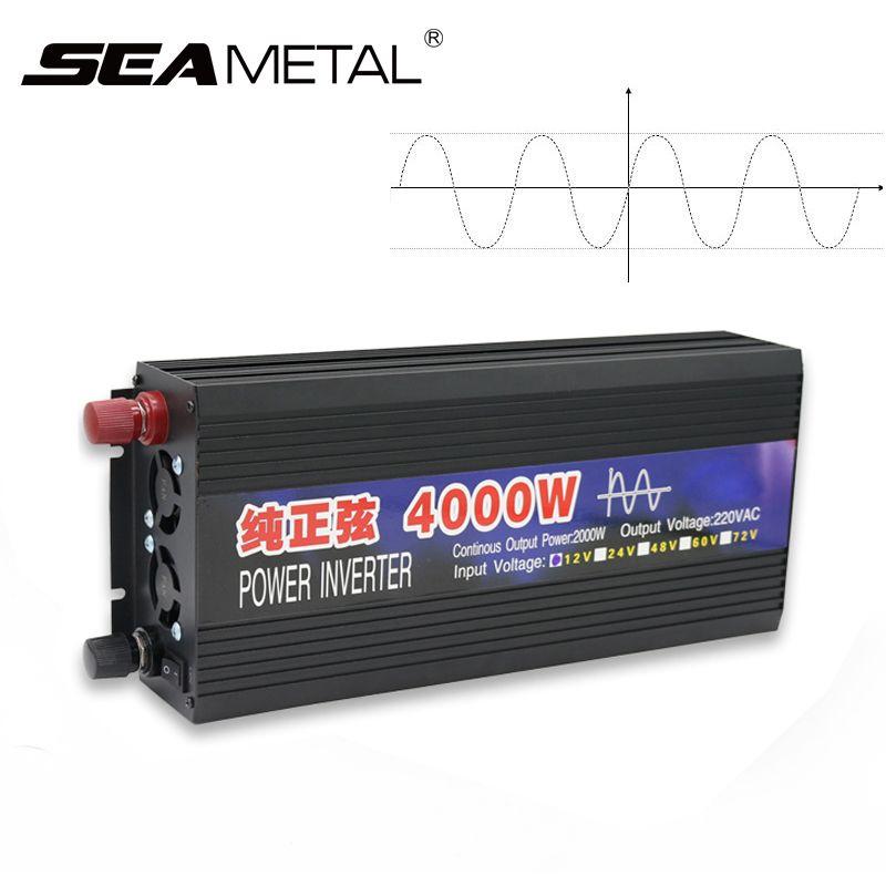 Car Inverter 4000W 2000W Power Pure Sine Wave Inverter 12V 220V Converter Inverter Display Supply 12 220 4000 2000 on Car Auto