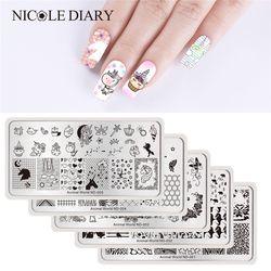 Nicole Diary Kuku Stamping Piring Persegi Panjang Putaran Dunia Hewan Seri Nail Art Gambar Piring Persegi Panjang Stensil untuk Kuku