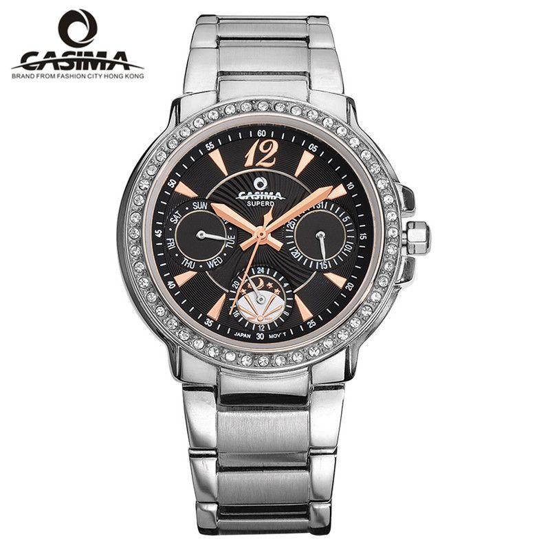 2016 CASIMA Часы Для женщин Нержавеющаясталь кварцевые наручные Часы для Для женщин Мода Повседневное Водонепроницаемый 50 м женские часы #2902