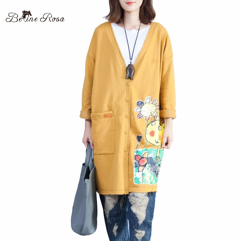 BelineRosa Women's Autumn Trench Coats Large Size Women Clothing Kawaii Style Cat Printing Big V Neck Coats Women ALWY0001
