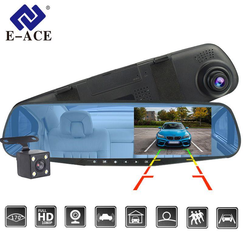 E-ACE Dvr Dash Camera Car Dvr mirror FHD 1080P 4.3 Inch Dual Lens With Rear View Camera Auto Video Recorder Registratory