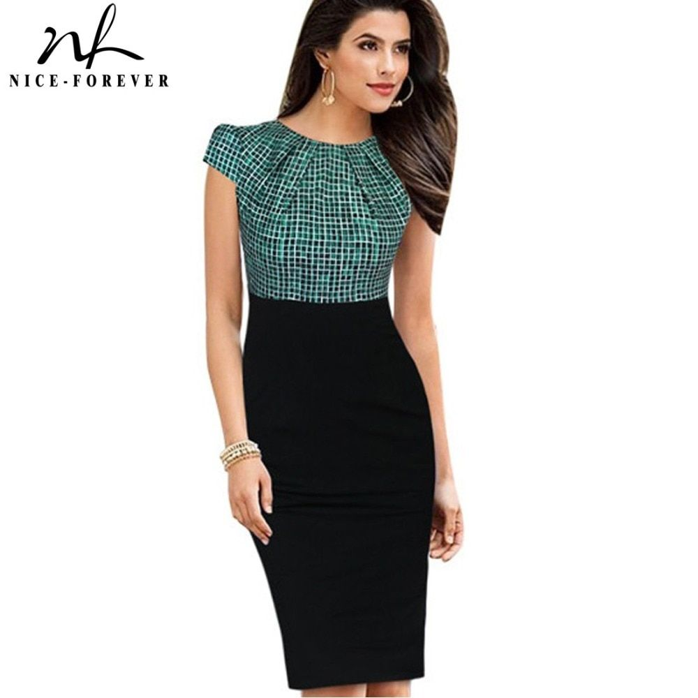 Nice-forever New Print Stylish Elegant Casual <font><b>Work</b></font> Ruched Cap Sleeve Gather O-Neck Bodycon Knee Women Office Pencil Dress B316