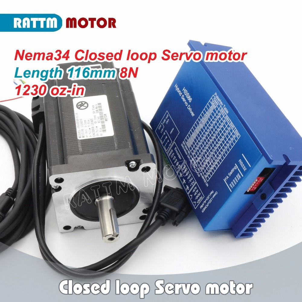 RUS/ EU Ship! Nema34 8N.m Closed-Loop Servo motor 1230oz-in 6A 2-Phase & 2HSS86 Hybrid Step-servo Driver 8A AC24~70V / DC30~100V