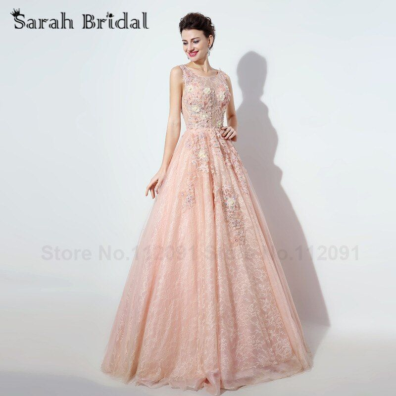 Elegant Pink Lace Evening Dresses Ball Gowns Sleeveless 2016 New Beading Appliques Evening Gowns Hollow Back vestidos de noche