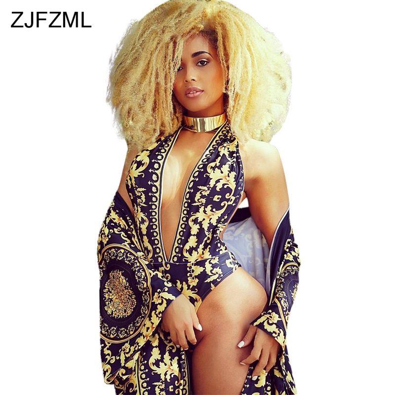 ZJFZML Chaude design de mode 2018 sexy 2 pièces femmes ensembles v-cou sexy imprimer barboteuses et nouveauté vêtements de plage longue maxi manteau