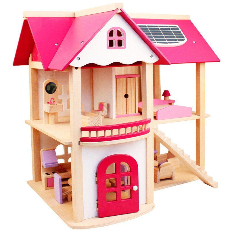 Sylvanian Families Haus Große Holz Assembled DIY Simulation Rosa Villa Haus Pädagogisches Spielzeug Puzzle Puppenhaus Spielzeug für Mädchen