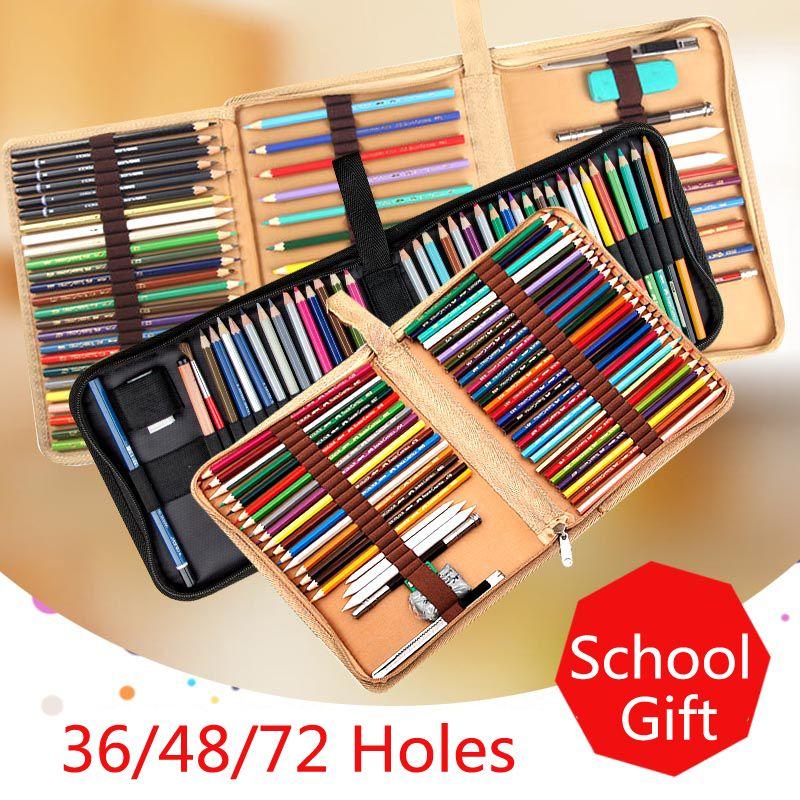 36 48 72 trous pli porte-crayon toile boîte à crayons Zipper solide couleur sac à crayons mignon croquis stylo étui pour les cadeaux de l'école des étudiants