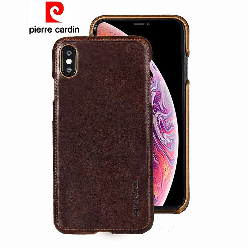 Pierre Cardin Genuine Leather Case For iPhone X XR XS Max Luxury Ultra Thin Phone Case Coque For iPhone X XR XS Max Back Cover