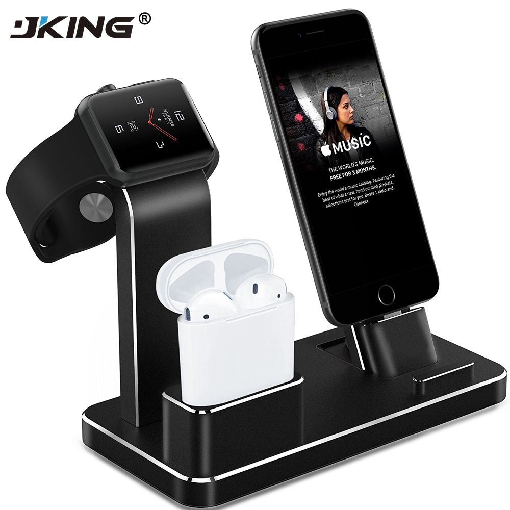 JKING Stand for Apple Watch 4 in 1 AirPods Accessories Charging Dock Phone Holder for Watch Series 2/1/iPhone 7/7Plus/6s Plus/5