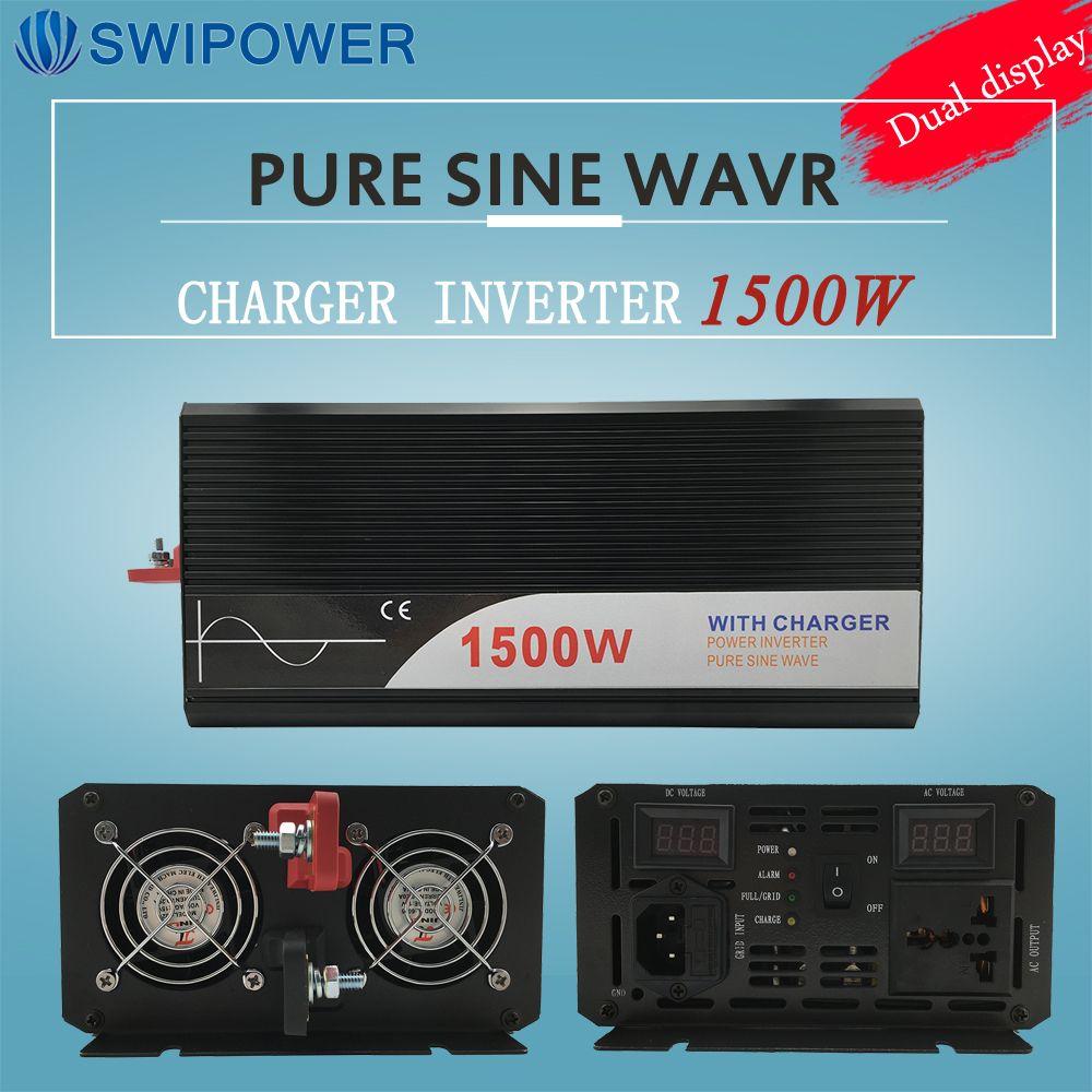Ups inverter 1500 Watt reine sinus-wechselrichter mit ladegerät 12 V 24 V 48 v DC zu AC 220 V 230 V 240 v solar power wechselrichter