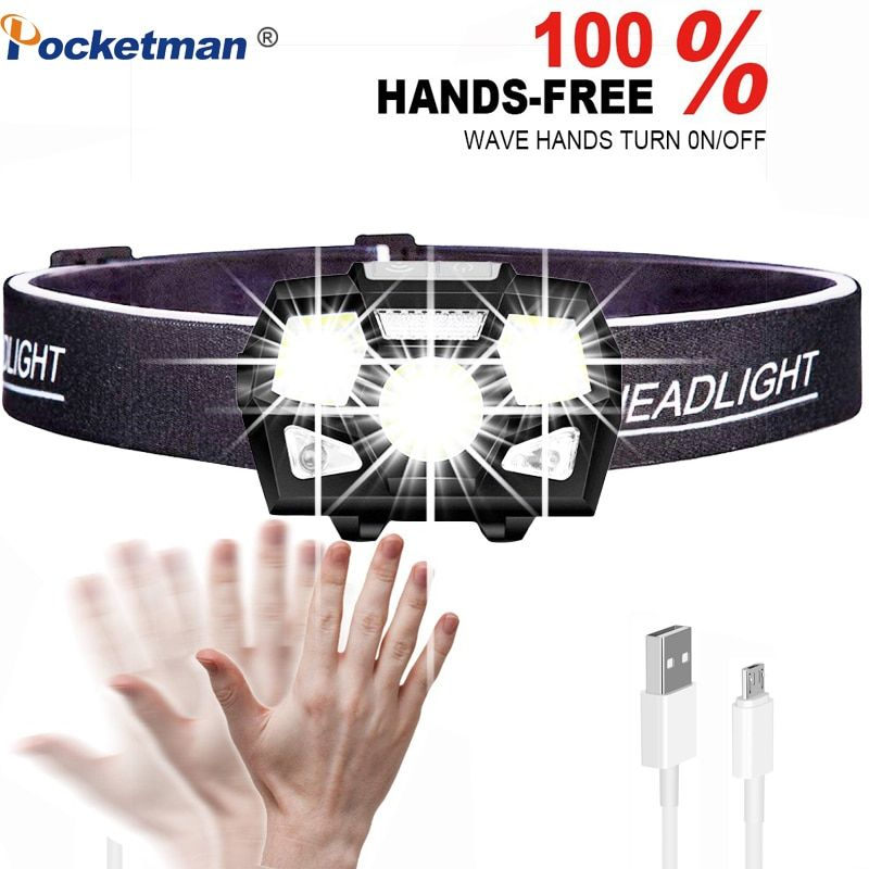 10000 Lumen LED phare capteur de mouvement Ultra lumineux casque lampe frontale puissant phare USB Rechargeable étanche lampe de poche