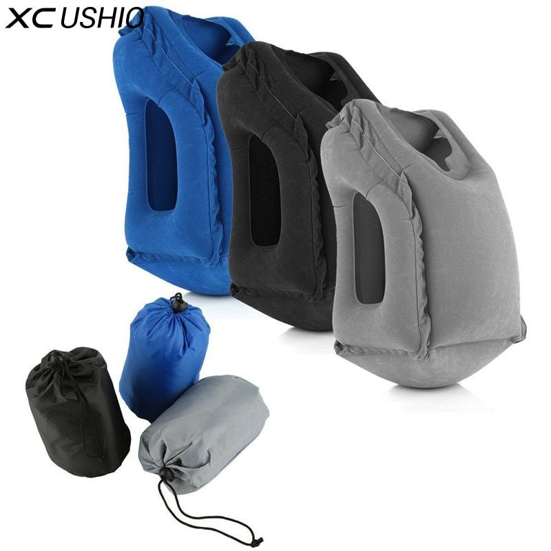 XC USHIO Inflatable Travel Pillow Air Soft Cushion Trip Portable Innovative Products Body Back <font><b>Support</b></font> Portable Blow Neck Pillow