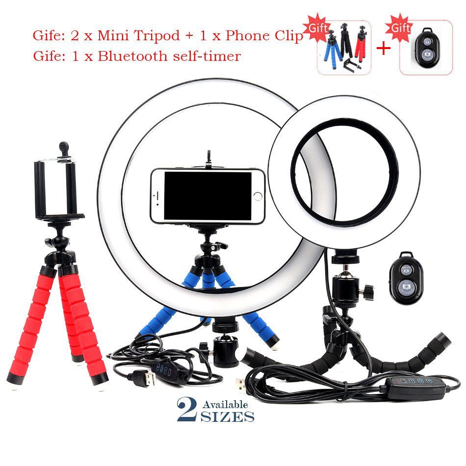 16/26 cm Dimmable LED Selfie anneau lumière Youtobe photographie Studio téléphone vidéo avec MiNi trépied prise USB en direct streaming anneau lampe