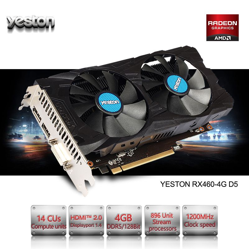 Yeston Radeon RX 460 GPU 4 GB GDDR5 128 bit Gaming desktop-computer PC Video Graphics Karten unterstützung DVI/HDMI PCI-E X8 3,0