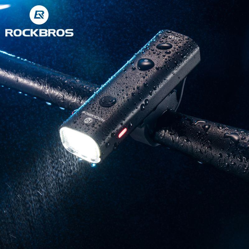 ROCKBROS vélo lumière étanche à la pluie LED rechargeable par usb 2000mAh vtt avant lampe phare en aluminium ultra-léger lampe de poche vélo lumière