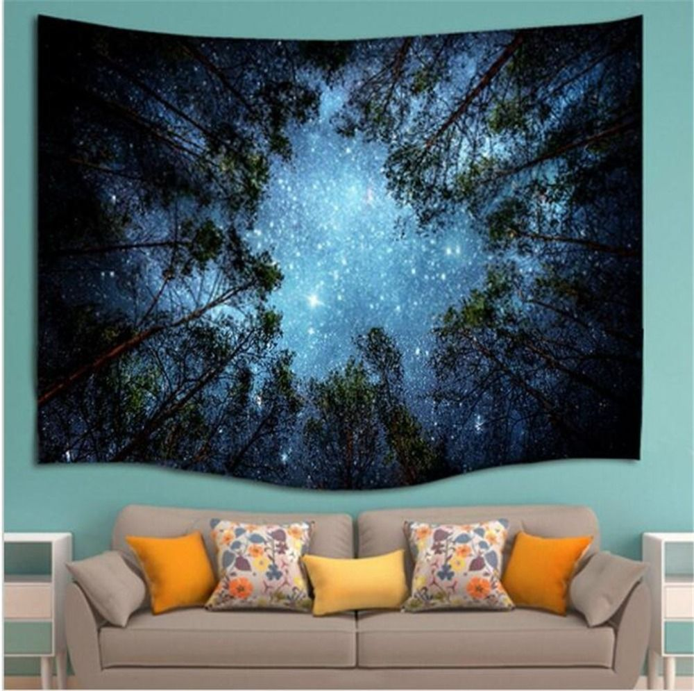 Beautiful Night Sky Wall Tapestry Home Decorations Wall Hanging Forest Starry Night Tapestries For Living Room Bedroom