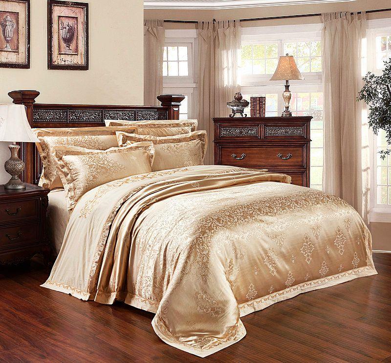 IvaRose Silk satin Cotton blend bedding set king queen size bedspread duvet/quilt cover bed sheet pillowcase 4/6pcs