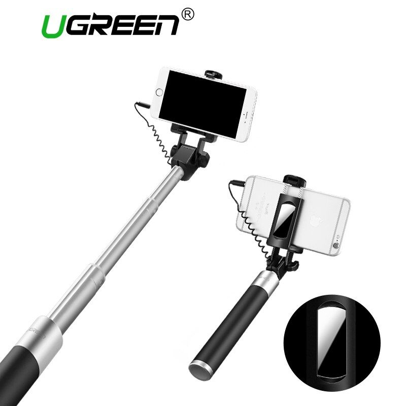 Ugreen Selfie Stick With Button Wired Monopod Universal For iPhone 6 5 S Android Samsung Huawei Xiaomi Sticks With Mirror
