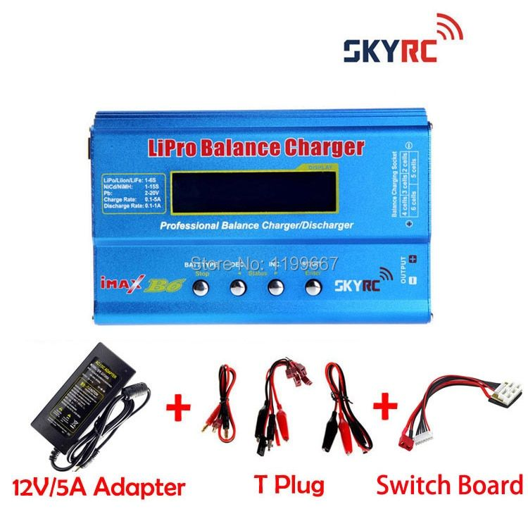 IMax B6 Original SKYRC 2s-6s 7.4v-22.2v Lipo NiMh Battery Balance Charger+12V5A Power Adapter(replacement)+Switch Board