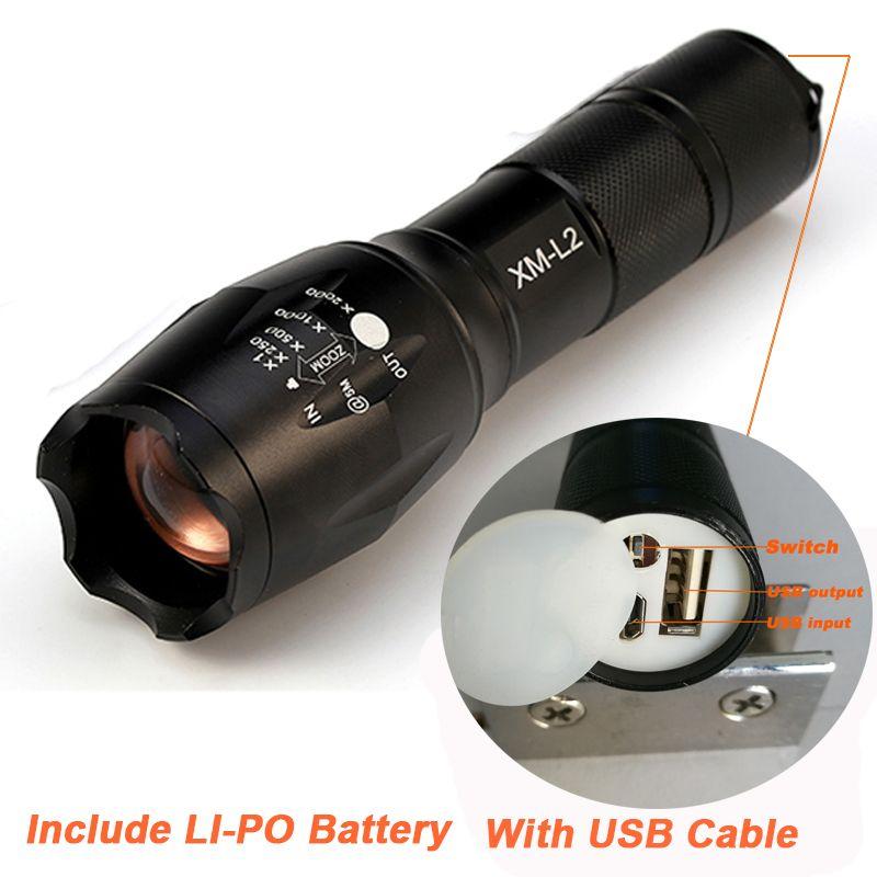 2017 Newest USB Flashlight 8000 <font><b>Lumens</b></font> X900 Flashlight LED CREE XM-L2 Torch Zoomable Flash Light Lamp Lighting For USB Charger