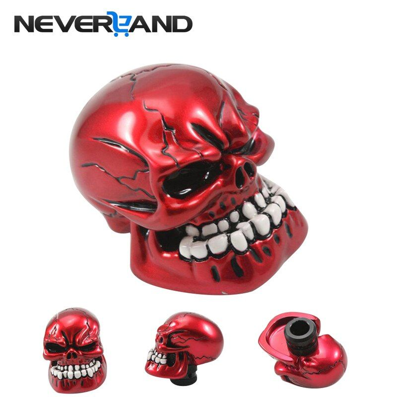 NEVERLAND Universal Manual Car Gear Shift Knob Shifter Lever Resin Skull Red vites topuzu