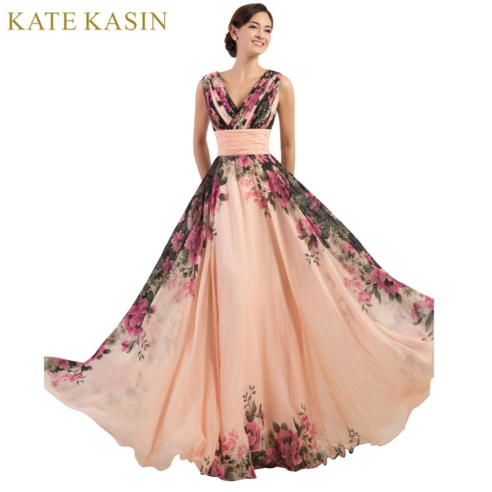 3 Designs Evening Dresses Stock One Shoulder Flower <font><b>Pattern</b></font> Floral Print Chiffon Evening Dress Gown Party Long Prom dresses 2018