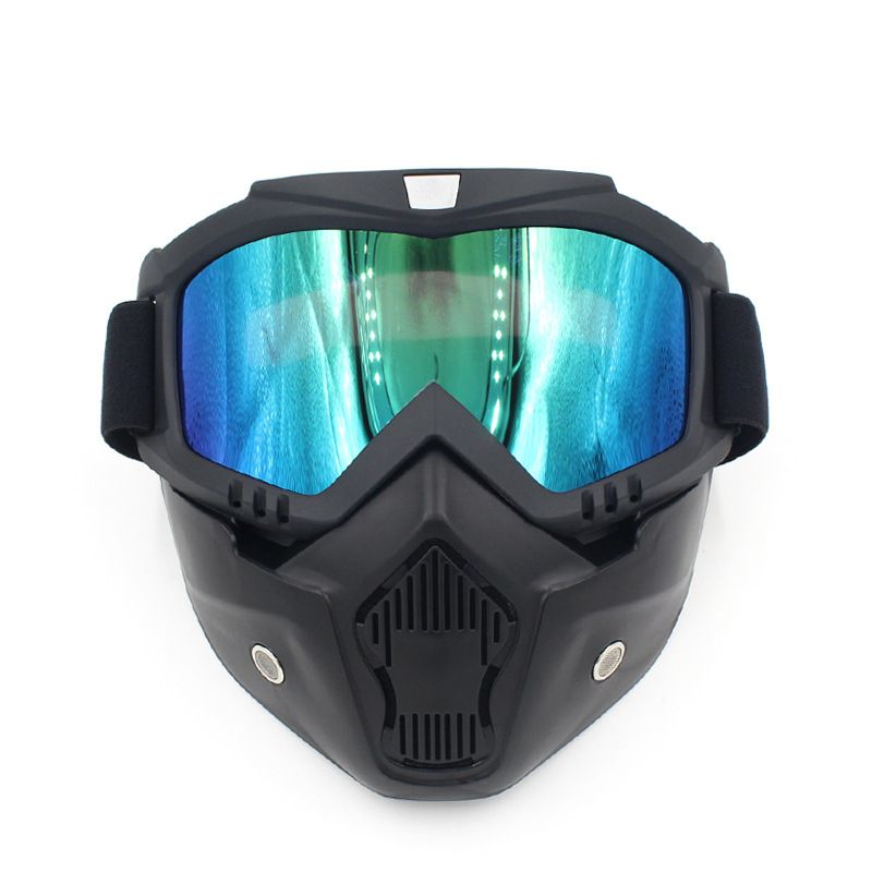 Motocross Goggles Glasses Face Dust Mask Detachable Motorcycle Oculos Gafas Mouth Filter For Open Face Vintage Helmets Universal