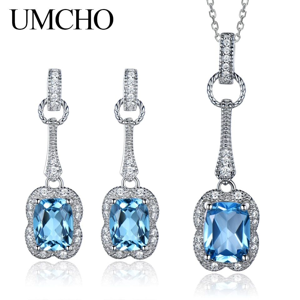 UMCHO Real 925 Sterling Silver Jewelry Set 5.6 ct Natural Blue Topaz Drop Earrings Pendant For Women Jewelry Necklace With Chain