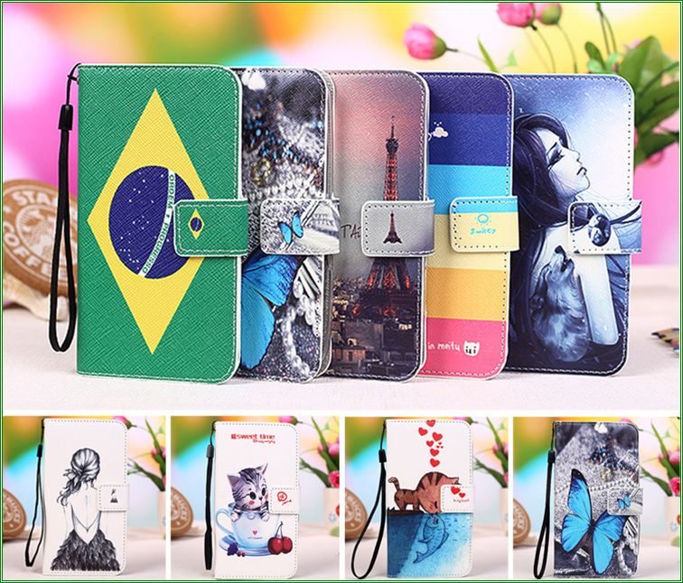 New Colourful Cartoon Painting PU Leather Stand Flip Cover Cases For Prestigio MultiPhone 7500 Phone Case Capa +Tracking No