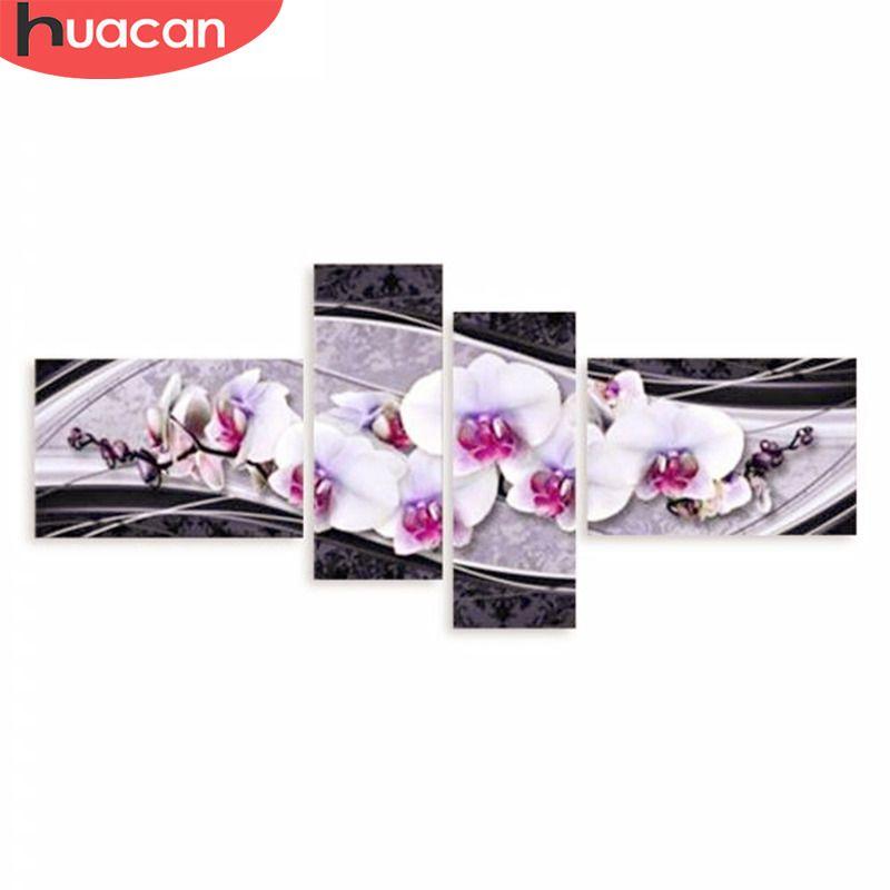 HUACAN bricolage 5D diamant broderie point de croix diamant peinture maison cadeaux décoratifs mode fleur 4 pièces couture