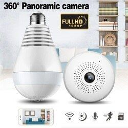 1080P 360 degree Night Vision IP Camera Bulb Light FishEye Smart Home CCTV 3D VR Camera Home WiFi Camera Panoramic