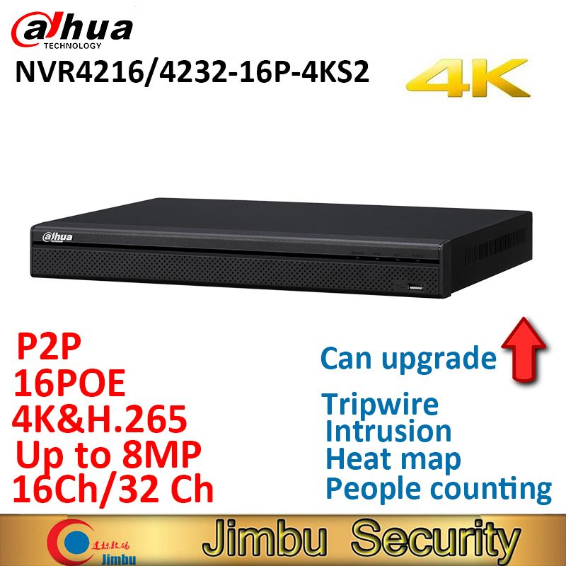 Dahua NVR 16PoE NVR4216-16P-4KS2 NVR4232-16P-4KS2 16CH 32CH Network Video Recorder 1U ports 4K &H.265 Lite Up to 8MP Resolution