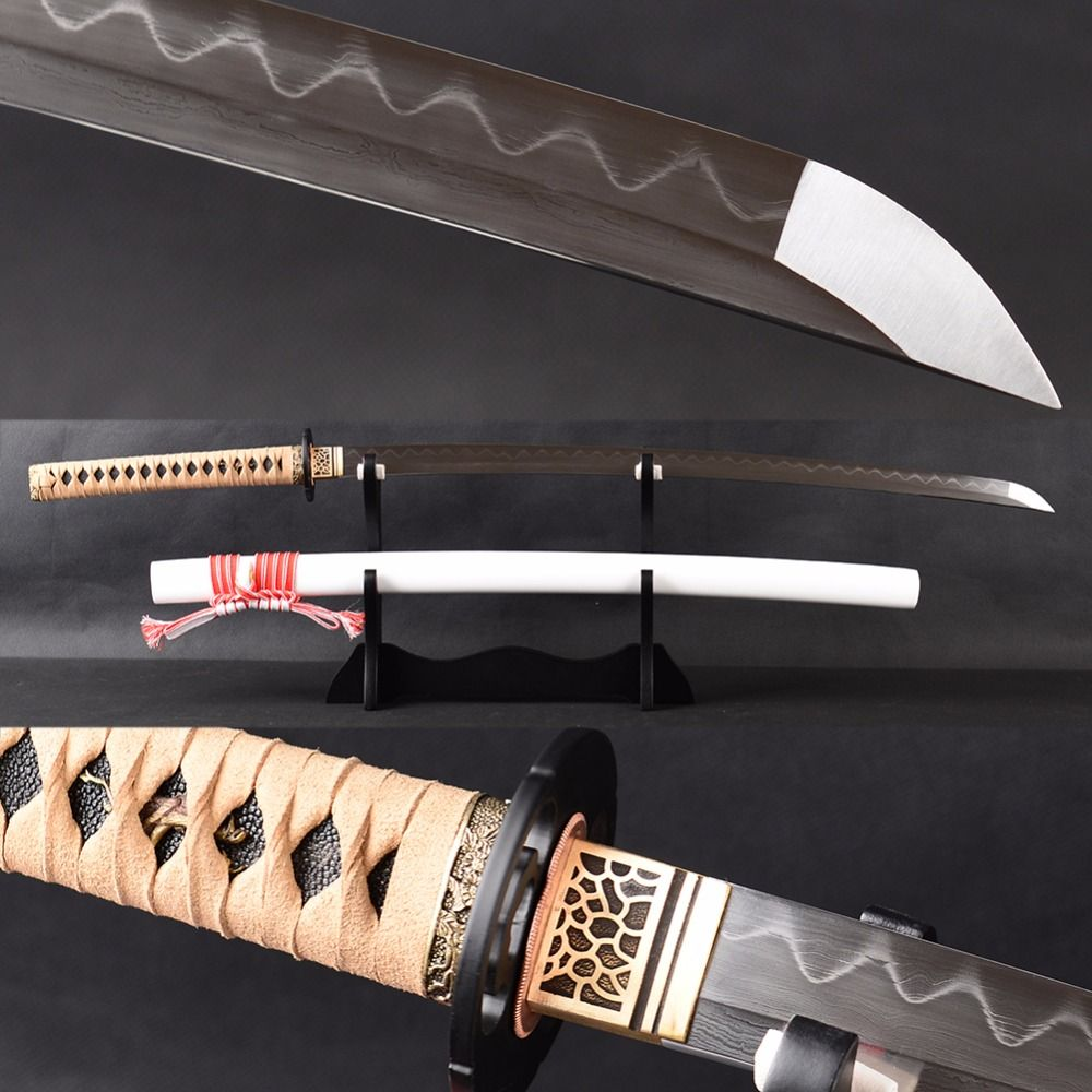 Real Sharp Samurai Sword Japanese Katana No Blood Groove Full Tang Blade Damascus Clay Tempered Espadas Sword Training Knife