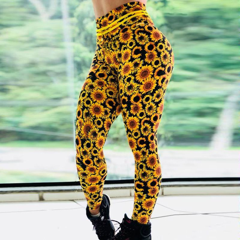 Printed Slim Fitness Leggings Women Compression Push Up Leggins Clothing Workout Printing Patchwork Trousers