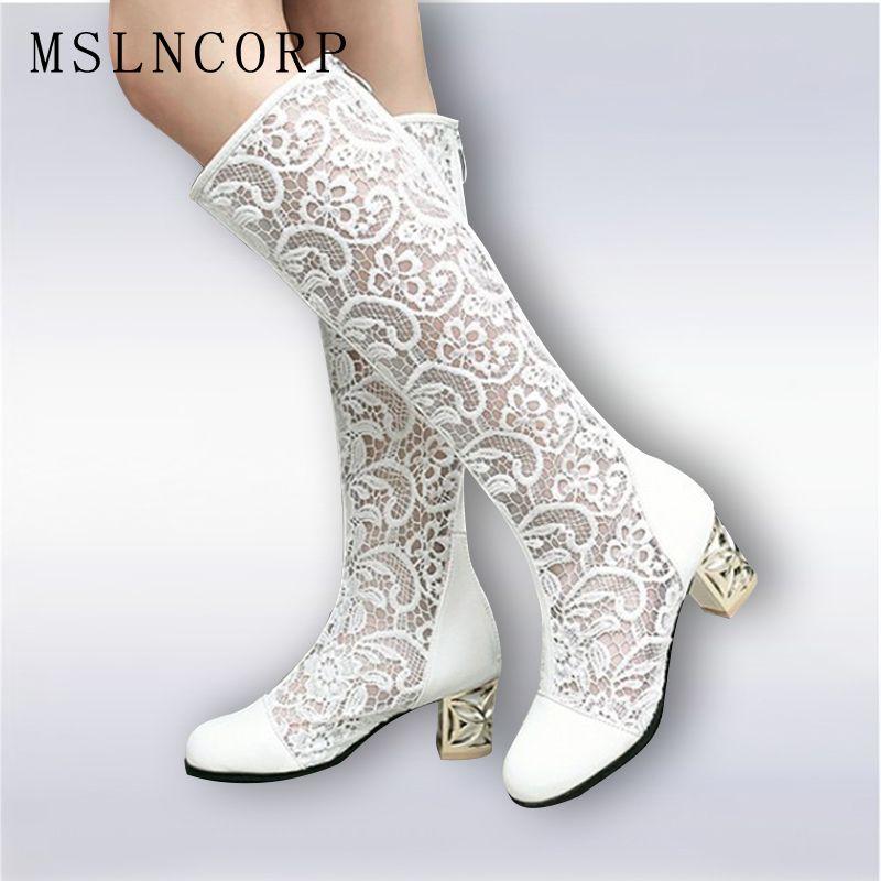 Taille 34-46 nouvelle mode femmes genou bottes hautes talon carré fermeture éclair Sexy dentelle maille bottes été Cool bottes respirant chaussures pour femmes