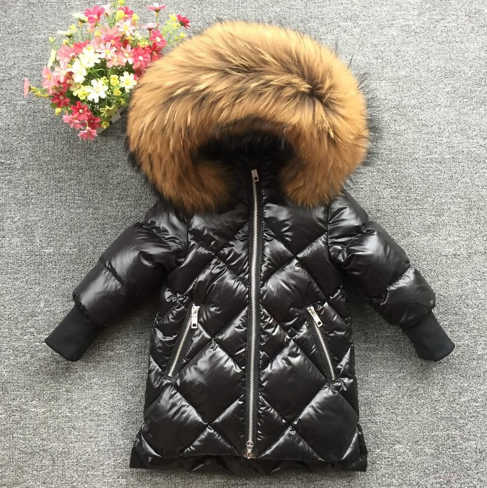 2018 kids baby fur hoodie feather print girls winter coat winter jacket long baby girls White duck down soft parks down