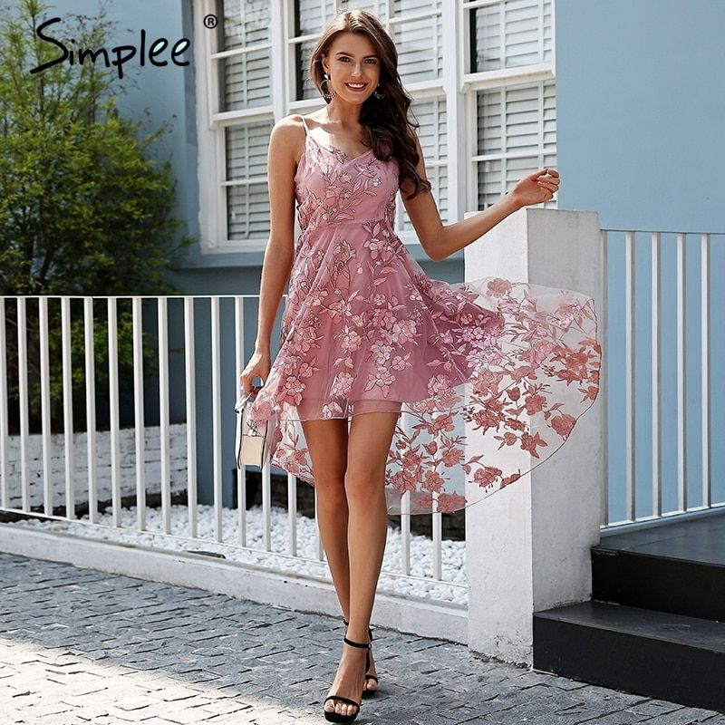 Simplee Sexy backless strap lace dress women High-low embroidery mesh overlay long dress Elegant summer party dress vestidos