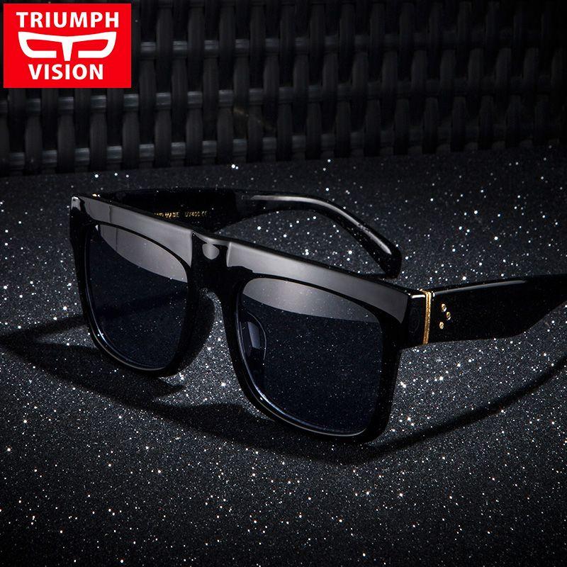 TRIUMPH VISION Black Flat Top Hommes Lunettes De Soleil Surdimensionnées Grand Cadre Carré Oculos Masculino D'été Frais De La Mode Masculine Lunettes de Soleil