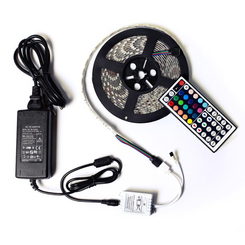 SMD5050 étanche 60led/m 5 m 300 leds RGB Led bande Flexible lumière 44key télécommande 12 V 5A transformateur décoration de la maison