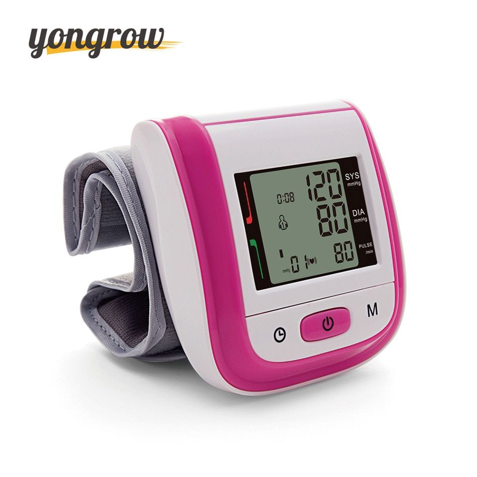 Yongrow Tonometer Automatic Wrist Digital Blood Pressure Monitor Digital lcd Sphgmomanometer Heart <font><b>Beat</b></font> Rate Pulse Meter 2016