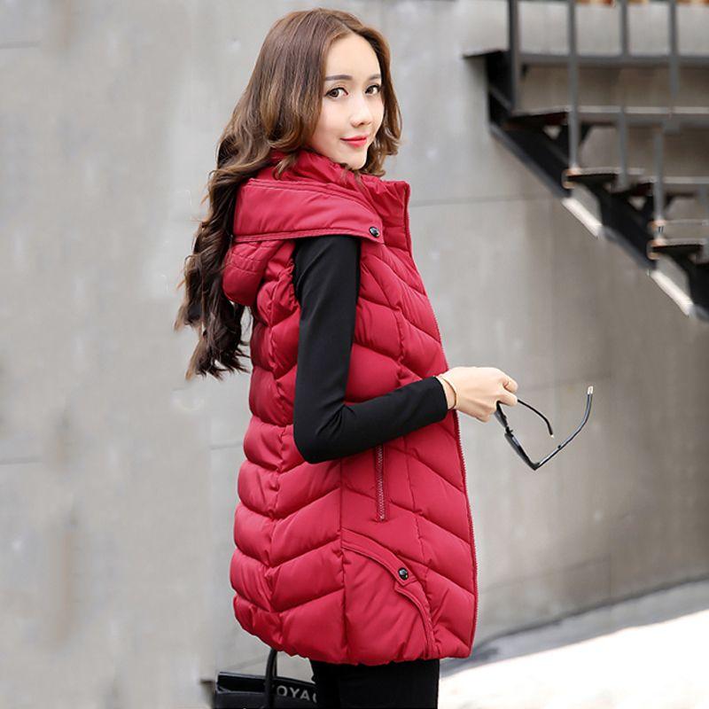 Long cotton padded hooded winter women waistcoat slim autumn warm female vest ladies plus size 3Xl 4xl cotton colete