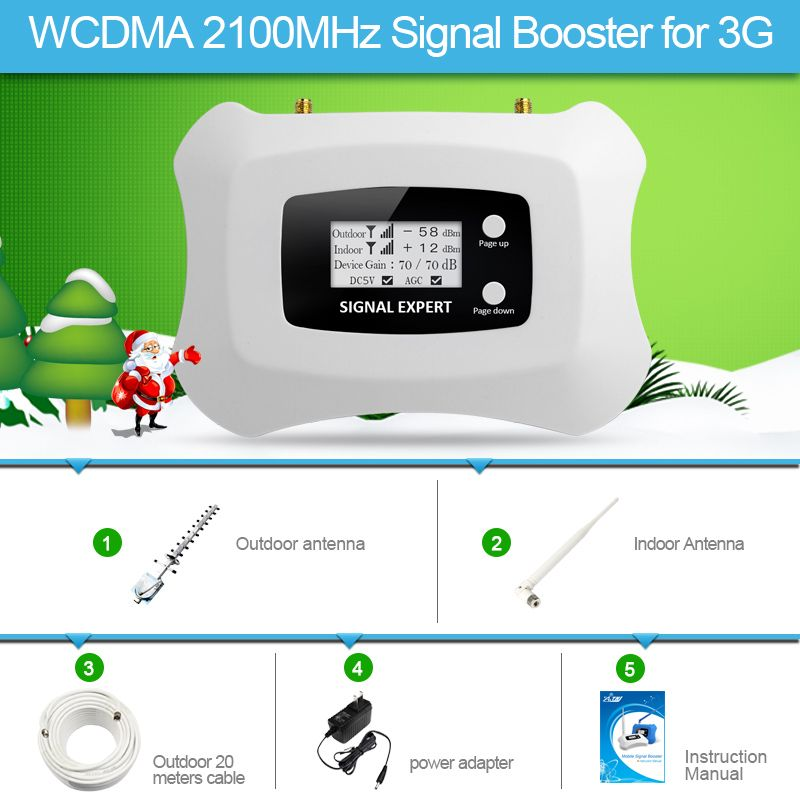Specially for Russia!3G 2100mhz smart mobile signal amplfier repeater with Yagi 3g cellular signal booster kit