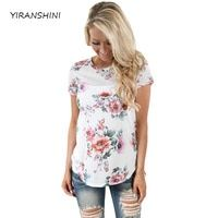 YIRANSHINI 2018 Summer White Flower Print Striped T-Shirts Casual Lady O-Neck Shorts Sleeve Tops Fashion Polyester Tee LC250067
