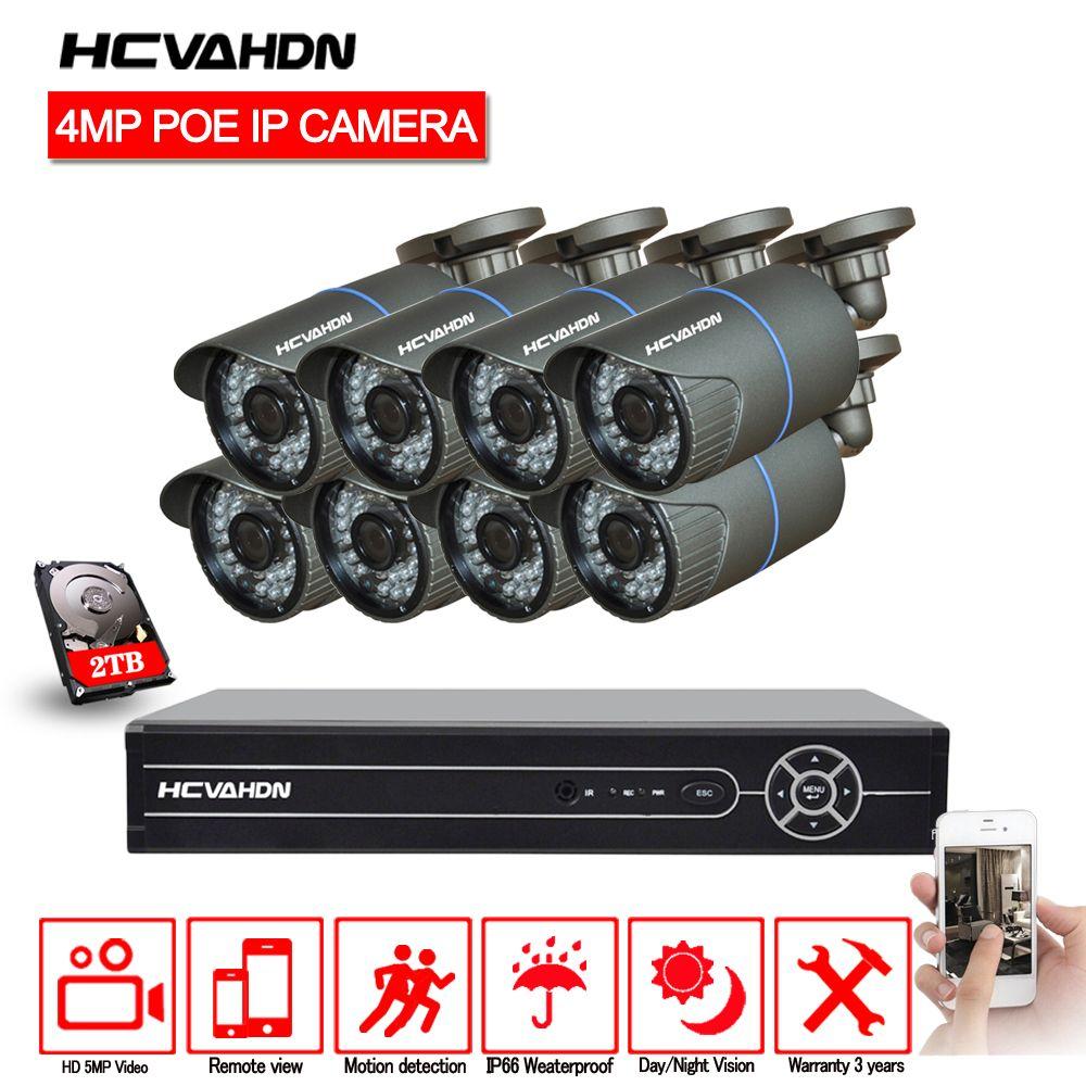 HCVAHDN 8CH 5MP 1080 p 4 karat HDMI POE NVR Kit CCTV Kamera System 4.0MP Outdoor Sicherheit IP Kamera P2P video Überwachung System Set