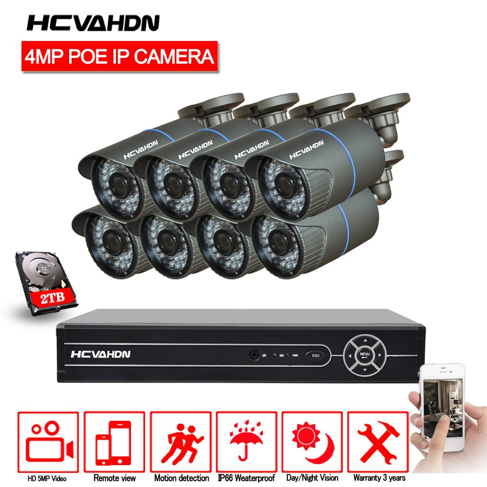 HCVAHDN 8CH 5MP 1080P 4K HDMI POE NVR Kit CCTV Camera System 4.0MP Outdoor Security IP Camera P2P Video Surveillance System Set